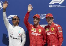 Sebastian Vettel (center) bested Lewis Hamilton (left) and Charles Leclerc to win the pole for the Canadian Grand Prix. (Steve Etherington Photo)