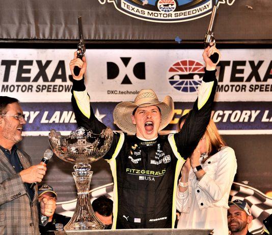 Josef Newgarden celebrates after winning the DXC Technology 600 at Texas Motor Speedway. (Al Steinberg Photo)