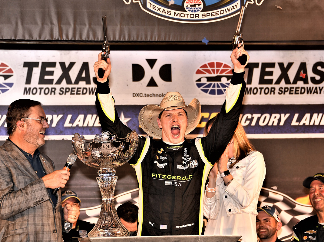 Josef Newgarden celebrates after winning the DXC Technology 600 at Texas Motor Speedway. (Al Steinberg Photo)