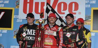 Brian Brown (center) won Saturday's 410 sprint car feature at Knoxville Raceway. (Ken's Racing Pix Photo)