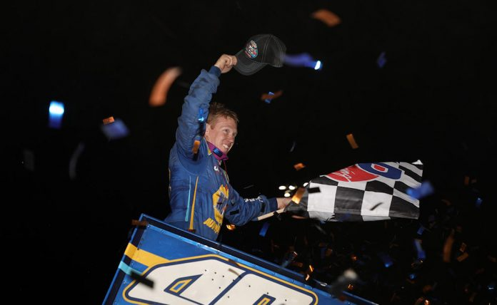 Brad Sweet overcame his own mistake to win Saturday night's World of Outlaws NOS Energy Drink Sprint Car Series feature at Granite City Speedway