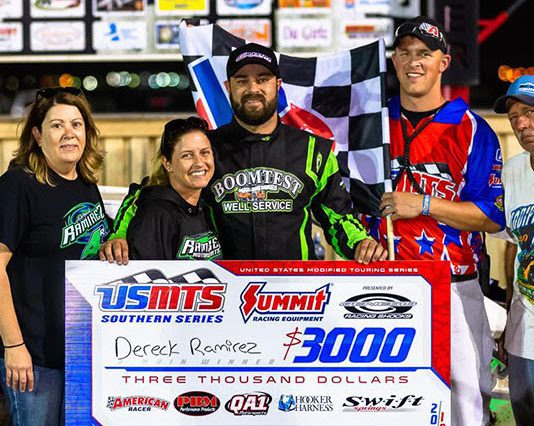 Dereck Ramirez disposed of Jake Gallardo on lap 11 of 40 at the Route 66 Motor Speedway on Saturday night, and then blasted his way through the field to score a $3,000 payday and the seventh win of his USMTS career