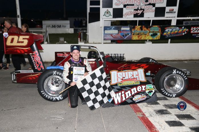 Jeff Abold and Dave Danzer each won 35-lap Novelis Supermodified features Saturday night at Oswego Speedway