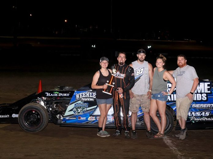 Darron Fuqua celebrates his A-Mod victory at Central Missouri Speedway. (Joshua Allee Photo)