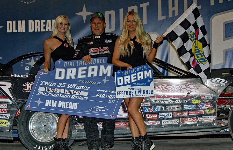 Darrell Lanigan poses in victory lane after winning Thursday's first Dirt Late Model Dream preliminary feature at Eldora Speedway. (Jim Denhamer Photo)