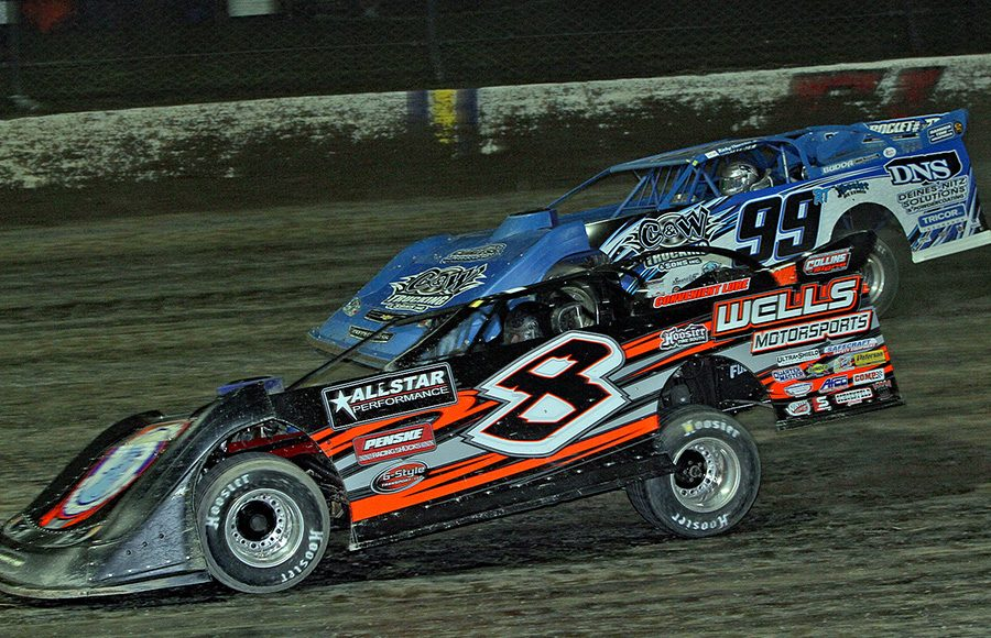 Kyle Strickler (8) races alongside Ricky Thornton Jr. during Thursday's second Dirt Late Model Dream preliminary feature at Eldora Speedway. (Jim Denhamer Photo)