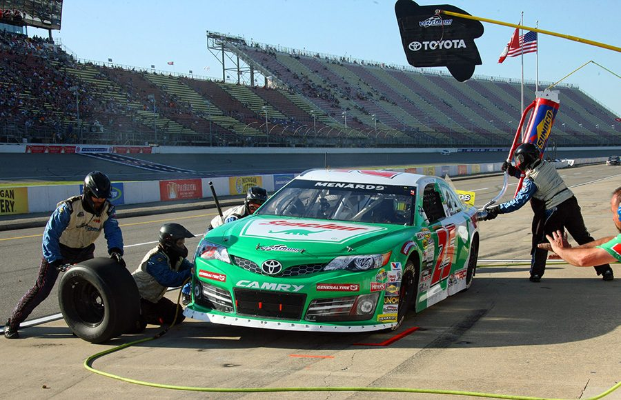 Michael Self's pit crew goes to work on his Toyota during Friday's ARCA Menards Series event at Michigan Int'l Speedway. (Todd Ridgeway Photo)