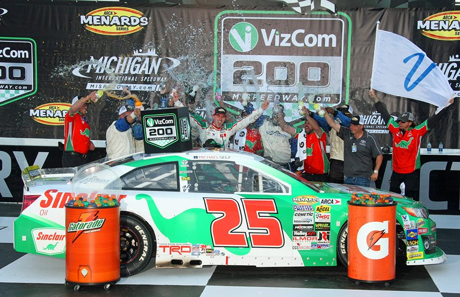 Michael Self celebrates in victory lane after winning Friday's ARCA Menards Series event at Michigan Int'l Speedway. (Todd Ridgeway Photo)