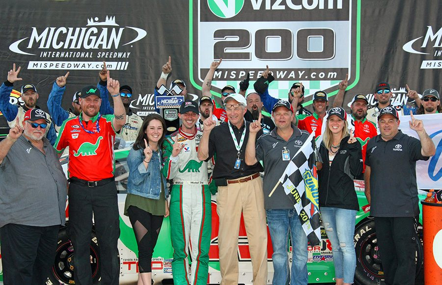 Michael Self, his team and family pose for a picture after Self won Friday's ARCA Menards Series race at Michigan Int'l Speedway. (Todd Ridgeway Photo)