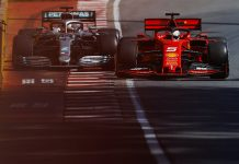 Sebastian Vettel (5) comes back on the track in front of Lewis Hamilton, a move that ultimately cost Vettel Sunday's Canadian Grand Prix. (Mercedes Photo)