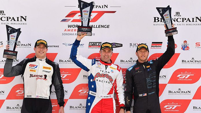 Ian James (center) raced to victory in Sunday's Pirelli GT4 America Sprint event at Sonoma Raceway.