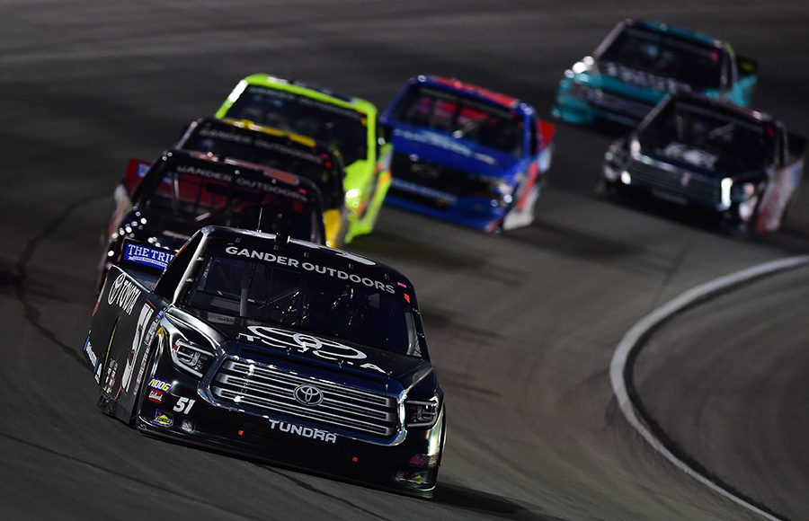 Greg Biffle (51) leads the field during Friday's NASCAR Gander Outdoors Truck Series race at Texas Motor Speedway. (NASCAR Photo)