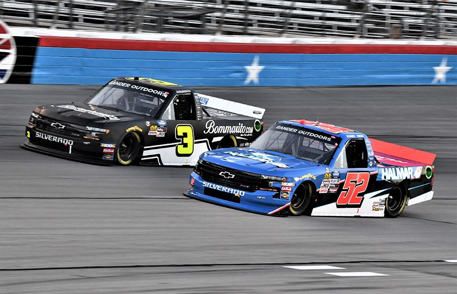 Stewart Friesen (52) battles Jordan Anderson during Friday's NASCAR Gander Outdoors Truck Series race at Texas Motor Speedway. (Al Steinberg Photo)