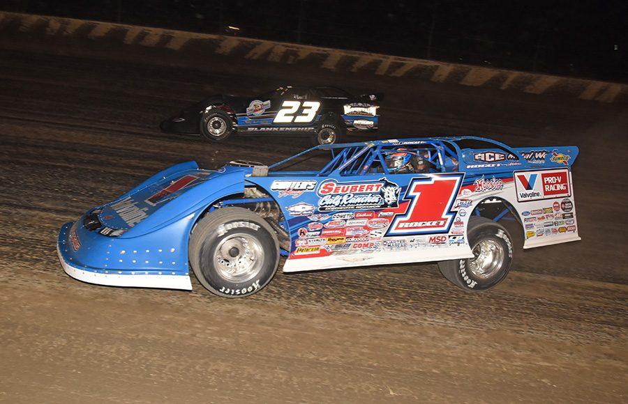 Brandon Sheppard (1) battles John Blankenship during Friday's Dirt Late Model Dream preliminary event at Eldora Speedway. (Paul Arch Photo)