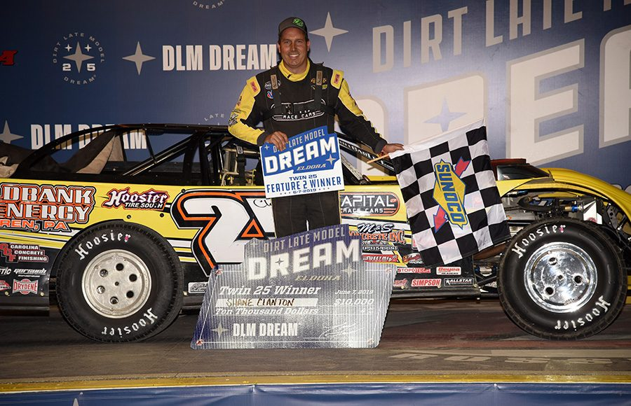 Shane Clanton poses in victory lane after winning a Dirt Late Model Dream preliminary feature on Friday at Eldora Speedway. (Paul Arch Photo)