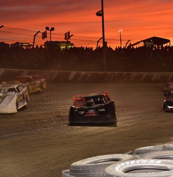 The sun sets over Eldora Speedway on night two of the Dirt Late Model Dream at Eldora Speedway. (Paul Arch Photo)