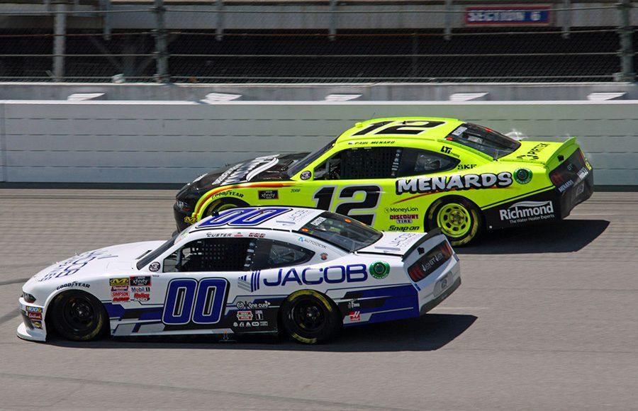 Cole Custer (00) battles Paul Menard during Saturday's NASCAR Xfinity Series event at Michigan Int'l Speedway. (Todd Ridgeway Photo)