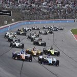 Takuma Sato and Scott Dixon lead the field at the start of Saturday's DXC Technology 600 at Texas Motor Speedway. (IndyCar Photo)