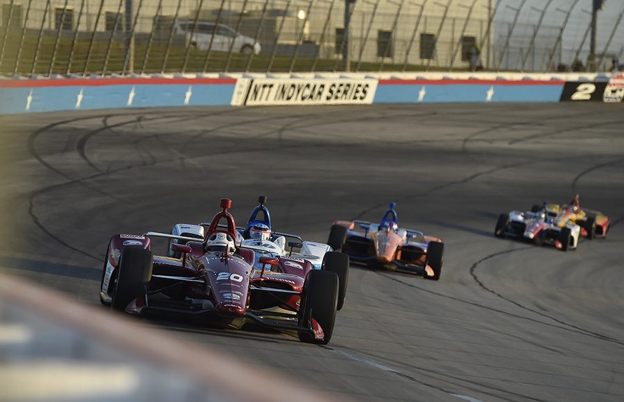 Ed Carpenter (20) leads a group of cars during Saturday's NTT IndyCar Series event at Texas Motor Speedway. (IndyCar Photo)