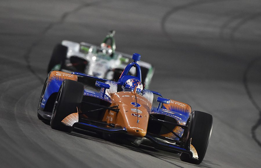 Scott Dixon (9) races ahead of Alexander Rossi during Saturday's NTT IndyCar Series event at Texas Motor Speedway. (IndyCar Photo)
