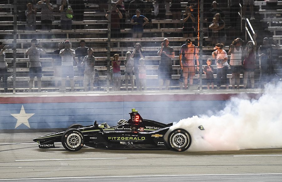 Josef Newgarden celebrates after winning Saturday's DXC Technology 600 at Texas Motor Speedway. (IndyCar Photo)