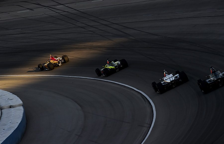 Ryan Hunter-Reay leads a group of cars through a corner during Saturday's NTT IndyCar Series event at Texas Motor Speedway. (IndyCar Photo)