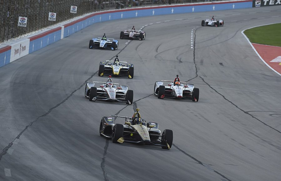 Marcus Ericsson leads a pack of cars during Saturday's NTT IndyCar Series event at Texas Motor Speedway. (IndyCar Photo)