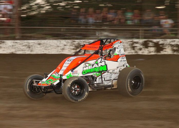 Brady Bacon en route to his third straight Grandview Speedway USAC victory. (Dan Demarco photo)