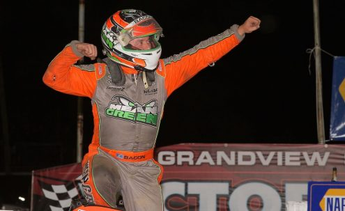 Brady Bacon in victory lane at Grandview Speedway. (Dan Demarco photo)