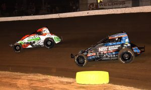 Brady Bacon (69) leads Justin Grant at Grandview Speedway. (Paul Arch photo)