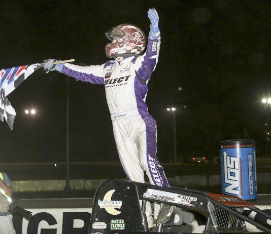 Jason McDougal celebrates winning Wednesday's USAC sprint car race at Bridgeport Speedway. (Dick Ayers photo)