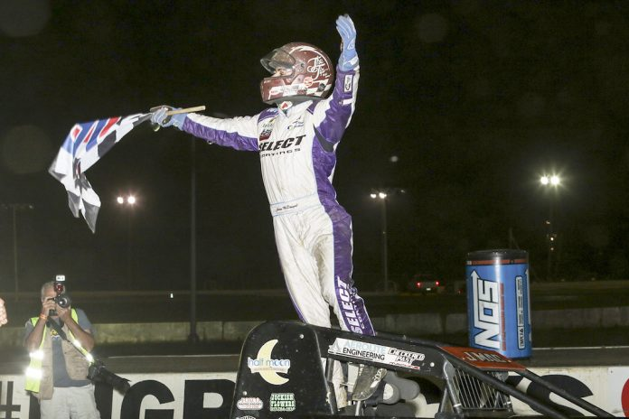 Jason McDougal celebrates winning Wednesday's USAC sprint car race at Bridgeport Speedway. (Dick Ayers photo)
