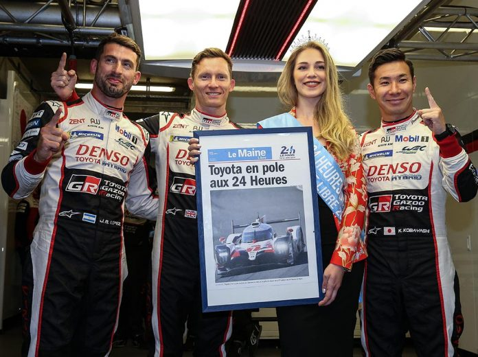 Jose Maria Lopez, Mike Conway and Kamui Kobayashi will start from the pole during the 24 Hours of Le Mans. (Toytoa Gazoo Racing Photo)