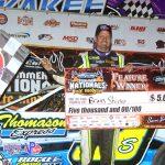 Brian Shirley in victory lane at Kankakee County Speedway. (Stan Kalwasinski photo)