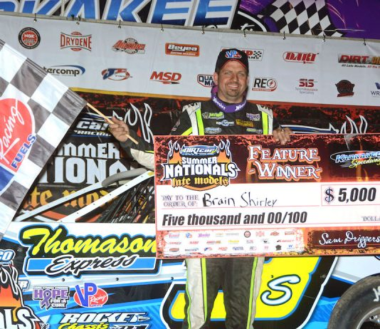 Brian Shirley in victory lane at Kankakee County Speedway. (Stan Kalwasinski photo)
