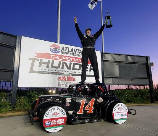Mark Swan in victory lane at Atlanta Motor Speedway. (AMS photo)