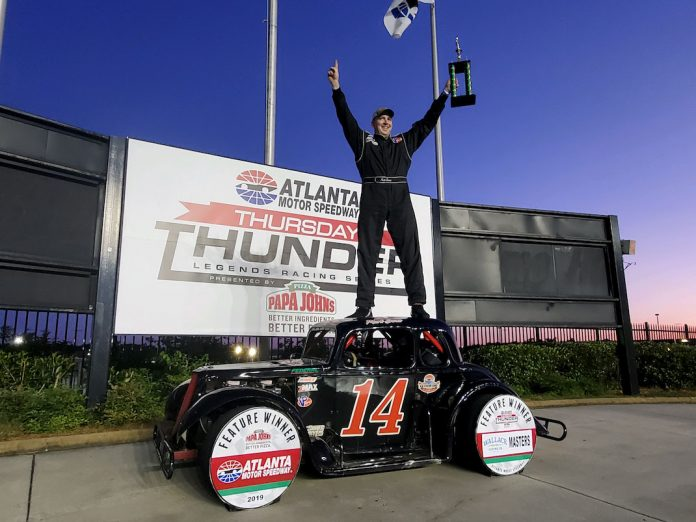 Mark Swan in victory lane at Atlanta Motor Speedway. (AMS photo)