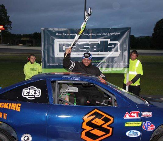 Jeffrey Martin celebrates his second Street Stock win of the season on Casella Waste Systems Night. (Alan Ward photo)