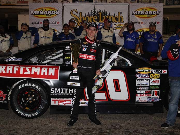 Chandler Smith in victory lane Friday night at Madison Int'l Speedway. (ARCA Photo)