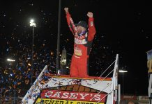 Brian Brown in victory lane at Knoxville Raceway. (Ken Berry photo)
