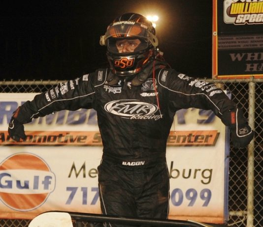 Brady Bacon won Friday's USAC Silver Crown Series feature at Williams Grove Speedway. (Julia Johnson photo)