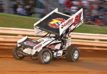 Freddie Rahmet en route to victory at Williams Grove Speedway. (Dan Demarco photo)