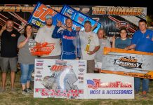 Zach Chappell poses in victory lane on Friday evening at Humboldt Speedway. (Dayton Sutterby Photo)