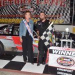 Ronnie McCarty in victory lane Friday evening at Kingsport Speedway. (Randall Perry Photo)