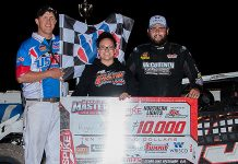 Ryan Gustin in victory lane at Cedar Lake Speedway. (USMTS photo)