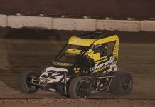 Caden Sarale won the Non Wing feature on Saturday at Delta Speedway. (Chris Cleveland photo)