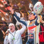 Marc Marquez celebrates after winning Sunday's MotoGP event at Circuit de Barcelona-Catalunya. (Honda Photo)