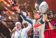 Marc Marquez celebrates after winning Sunday's MotoGP event at Circuit de Barcelona-Catalunya. (Honda Photo)