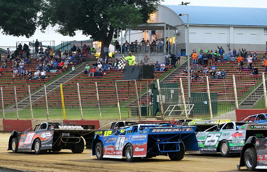The Lucas Oil MLRA field prepares to go racing on Saturday at Dubuque Fairgrounds Speedway. (Mike Ruefer Photo)