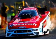Bob Tasca won Sunday's NHRA Funny Car event at Bristol Dragway (Kent Steele Photo)
